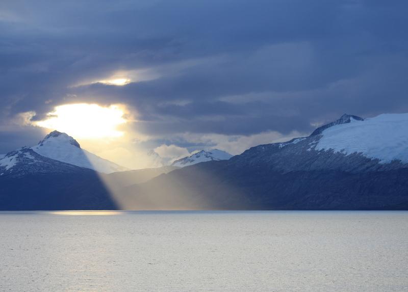 Sun Through Clouds, Straits of Magellan, Chile
