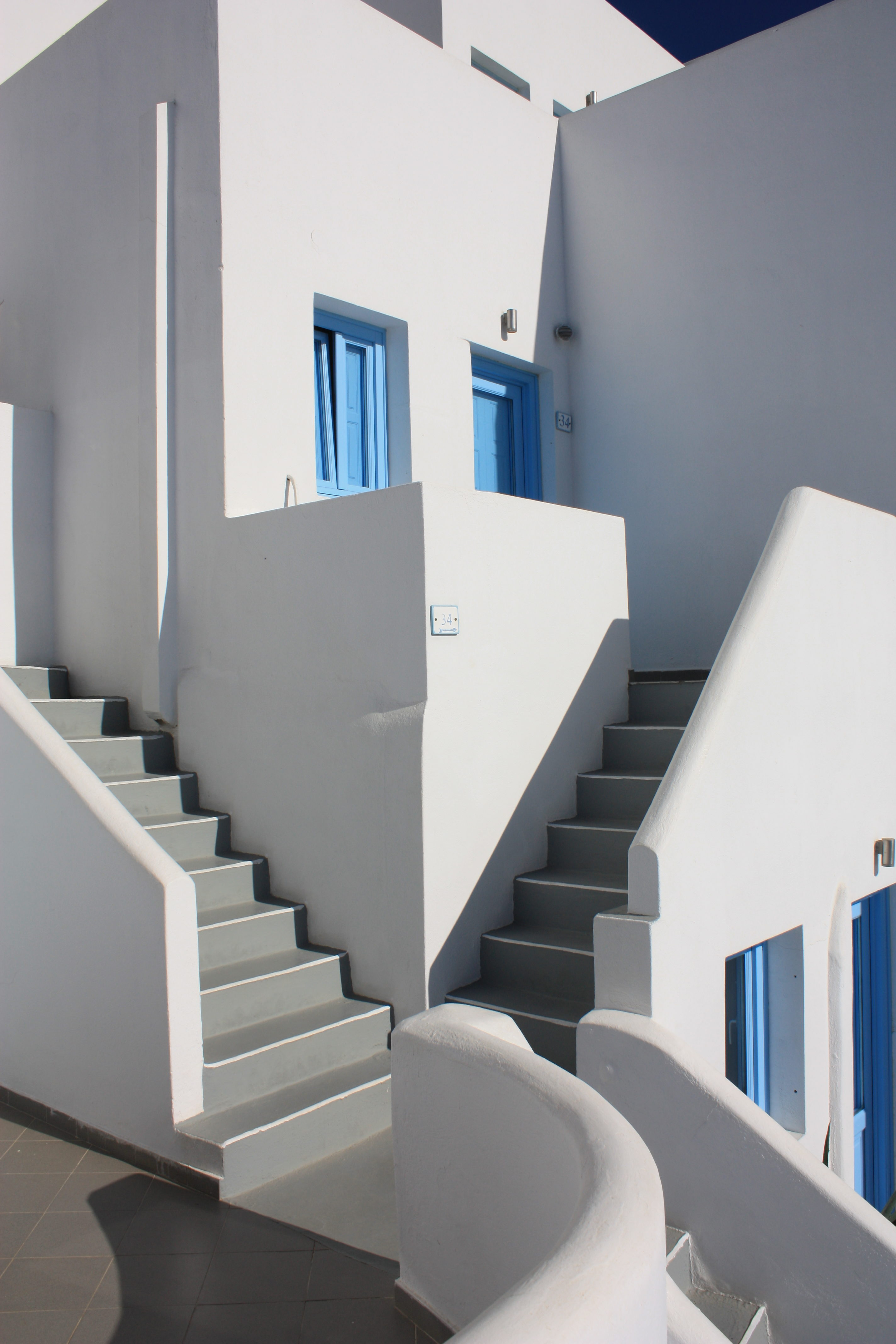 Angles, Forms, Shadows, with Blue and White, Santorini, Greece